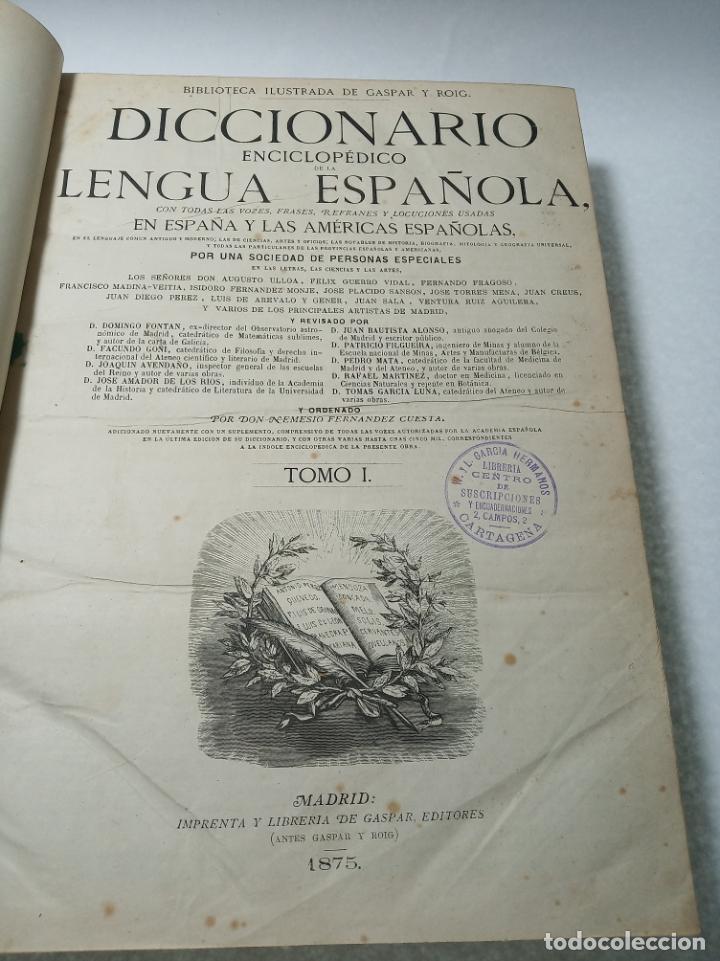 Diccionarios antiguos: Diccionario enciclopédico de la lengua española. 2 tomos. Sociedad de personas especial. Madrid.1875 - Foto 3 - 184631277