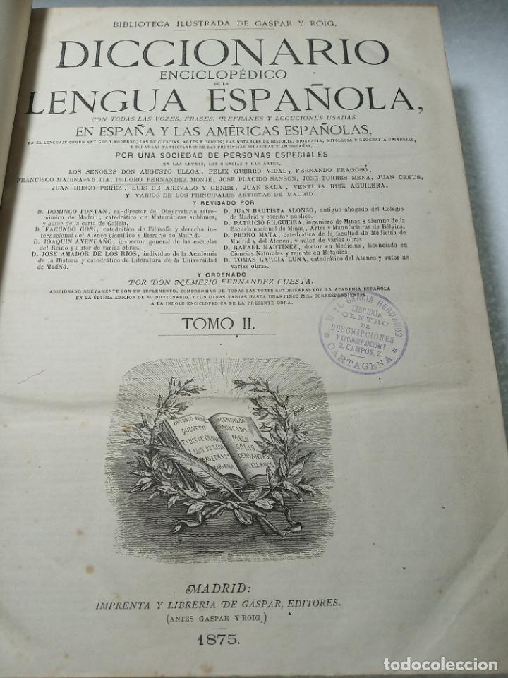 Diccionarios antiguos: Diccionario enciclopédico de la lengua española. 2 tomos. Sociedad de personas especial. Madrid.1875 - Foto 11 - 184631277