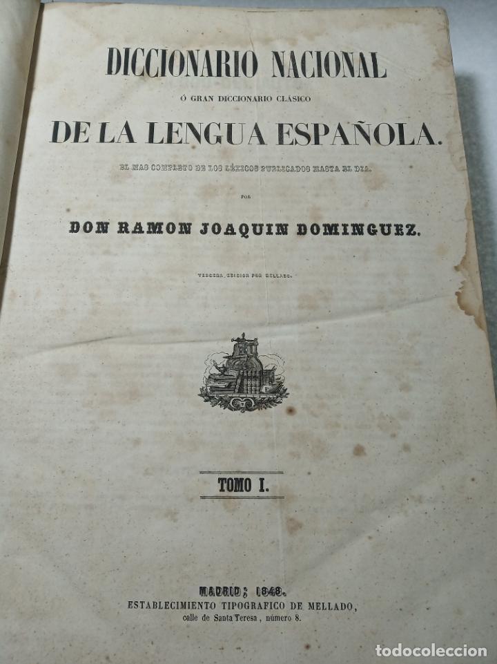 Diccionarios antiguos: Diccionario nacional o gran diccionario clásico de la lengua Española. Don Ramón Joaquín Dominguez. - Foto 3 - 184632747