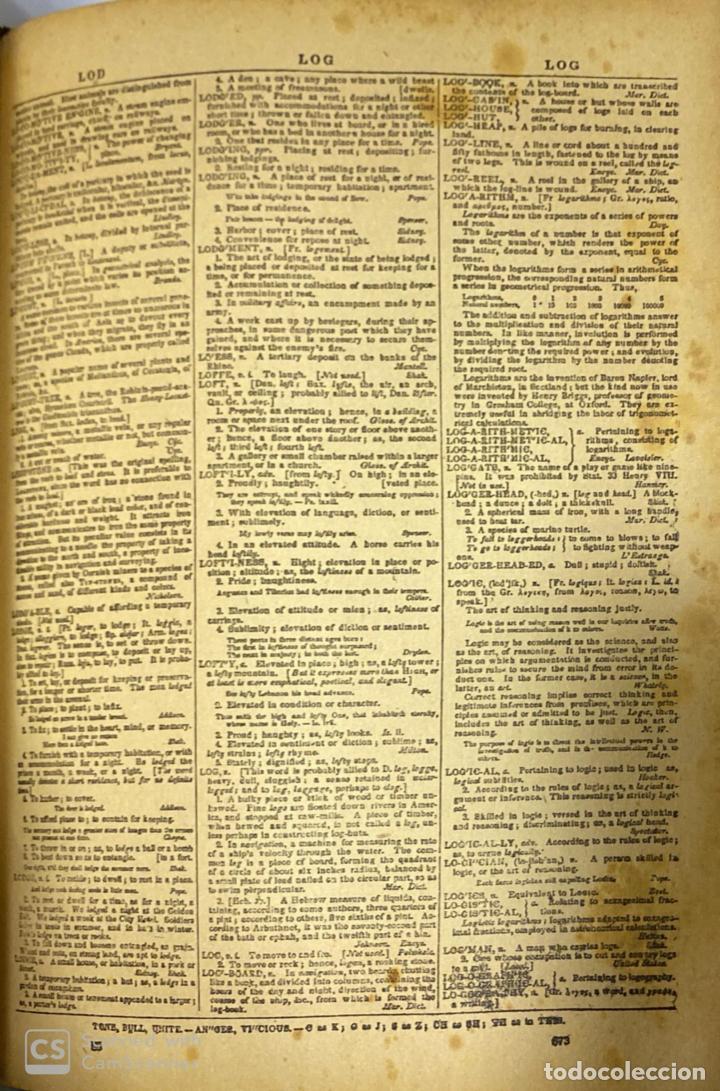 Diccionarios antiguos: WEBSTER´S. UNABRIDGED DICTIONARY. AN AMERICAN DICTIONARY OF THE ENGLISH LANGUAGE. NOAH WEBSTER, 1892 - Foto 4 - 185785466