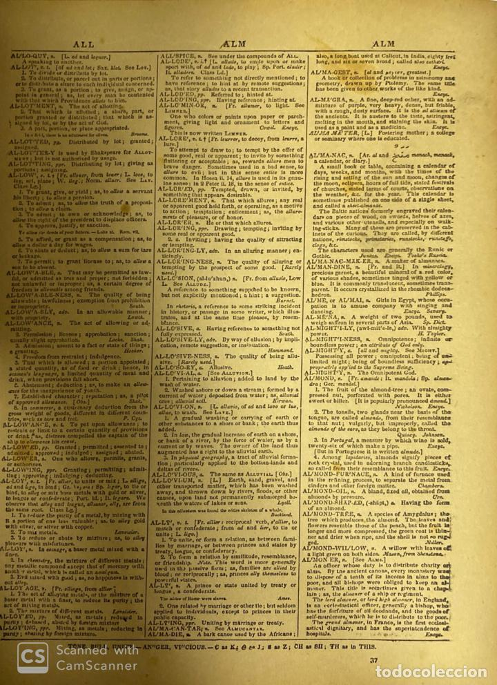 Diccionarios antiguos: WEBSTER´S. UNABRIDGED DICTIONARY. AN AMERICAN DICTIONARY OF THE ENGLISH LANGUAGE. NOAH WEBSTER, 1892 - Foto 7 - 185785466