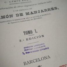 Diccionarios antiguos: 4 TOMOS DICCIONARIO INDUSTRIAL ARTES Y OFICIOS. EUROPA Y AMÉRICA. CAMPS AEMET. ILUSTRADO. . Lote 188471941