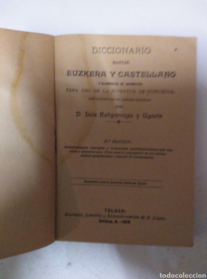 Diccionarios antiguos: Diccionario manual Euskera Castellano - Foto 3 - 189939721