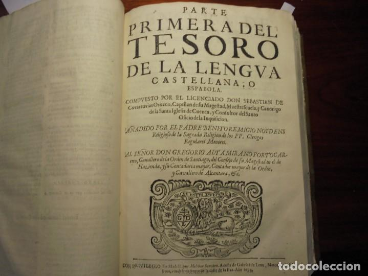 Diccionarios antiguos: ALDRETE: ORIGEN DE LA LENGUA CASTELLANA. COVARRUBIAS: TESORO DE LA LENGUA CASTELLANA. 1674 - Foto 2 - 194000830