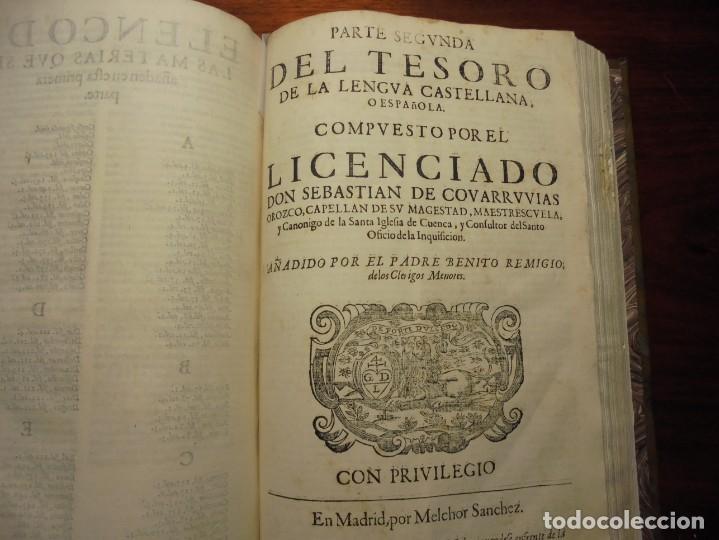 Diccionarios antiguos: ALDRETE: ORIGEN DE LA LENGUA CASTELLANA. COVARRUBIAS: TESORO DE LA LENGUA CASTELLANA. 1674 - Foto 3 - 194000830