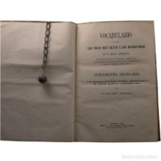 Diccionarios antiguos: LIBRO ANTIGUO. VOCABULARIO, VOCES QUE FALTAN Á LOS DICCIONARIOS. 1857. Lote 194885975