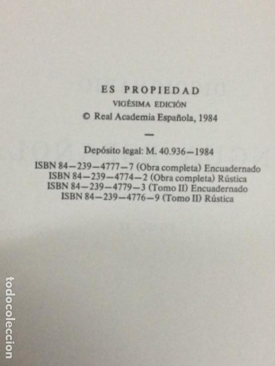 Diccionarios antiguos: DICCIONARIO DE LA REAL ACADEMIA ESPAÑOLA VIGESIMA EDICIÓN 1984. - Foto 7 - 194988468