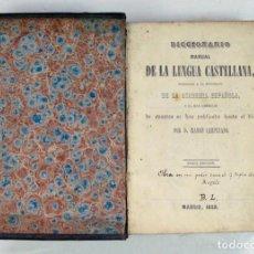 Libri antichi: DICCIONARIO MANUAL DE LA LENGUA CASTELLANA. RAMON CAMPUZANO. MADRID 1855. Lote 197129018