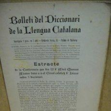 Diccionarios antiguos: BOLLETI DEL DICCIONARI DE LA LLENGUA CATALANA , Nº 6 AÑO 1902 - LITO. AMENGUAL Y MUNTANER - PALMA . Lote 197219330