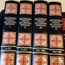 Diccionarios antiguos: DICCIONARIO UNESCO DE LAS CIENCIAS SOCIALES- 4 TOMOS COMPLETA- PLANETA AGOSTINI- 1988- SIN USAR. Lote 198885521