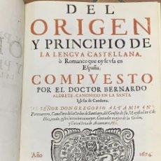 Diccionarios antiguos: (DOS OBRAS: ALDRETE Y COVARRUVIAS) DEL ORIGEN Y PRINCIPIO DE LA LENGUA CASTELLANA. - PARTE PRIMERA. Lote 198994938