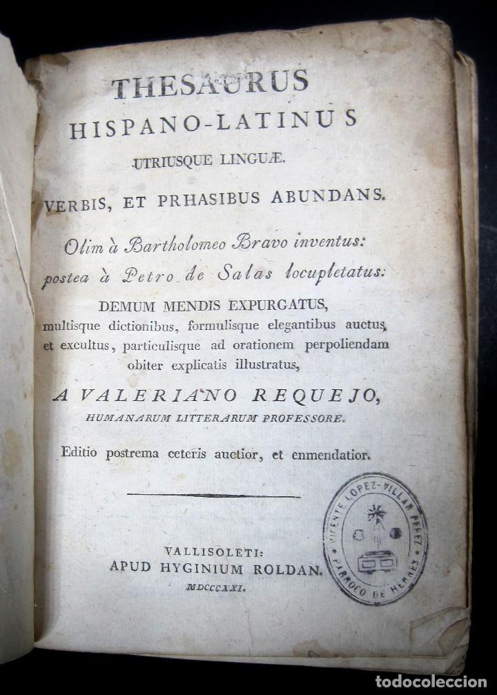 Diccionarios antiguos: Año 1821 Dichos y refranes Imprenta Valladolid Thesaurus hispano-latinus Pergamino Castellano Latín - Foto 5 - 108678439