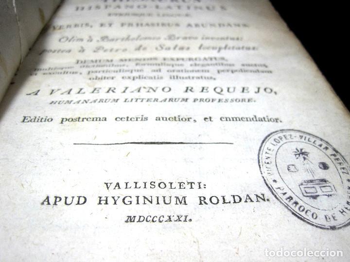 Diccionarios antiguos: Año 1821 Dichos y refranes Imprenta Valladolid Thesaurus hispano-latinus Pergamino Castellano Latín - Foto 6 - 108678439