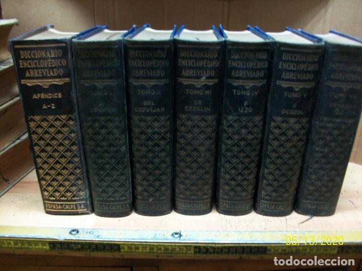 DICCIONARIO ENCICLOPEDICO ABREVIADO-ESPASA-CALPE-AÑO 1957-7 TOMOS (Libros Antiguos, Raros y Curiosos - Diccionarios)