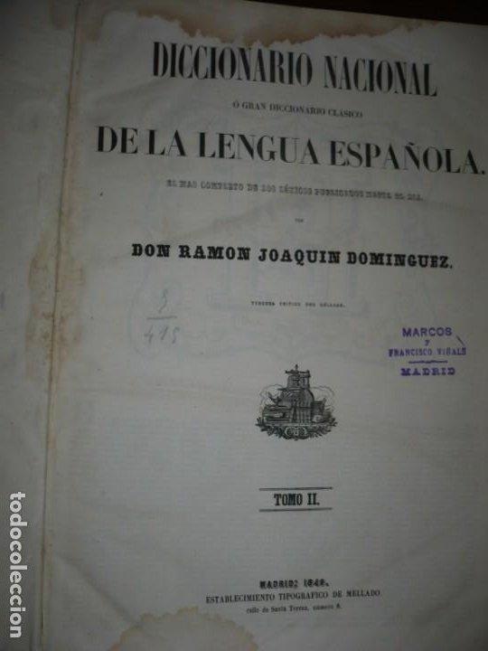 Diccionarios antiguos: DICCIONARIO NACIONAL DE LA LENGUA ESPAÑOLA R. JOAQUIN DOMINGUEZ 1849 MADRID TOMO II+SUPLEMENTO - Foto 2 - 205330998