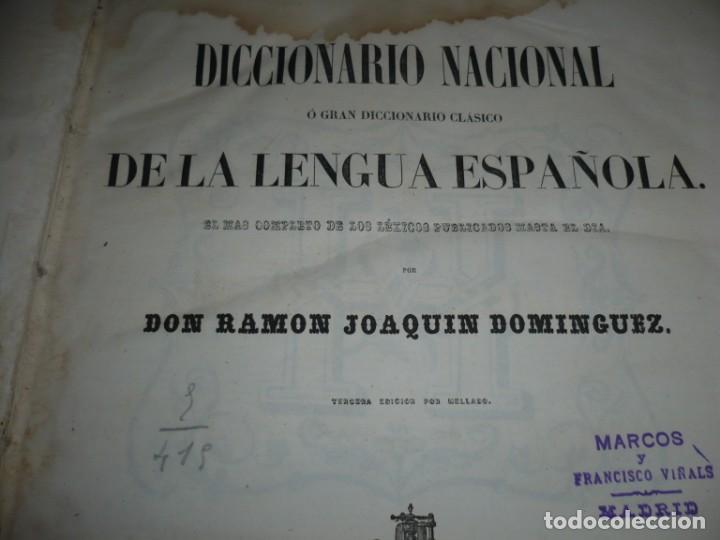 Diccionarios antiguos: DICCIONARIO NACIONAL DE LA LENGUA ESPAÑOLA R. JOAQUIN DOMINGUEZ 1849 MADRID TOMO II+SUPLEMENTO - Foto 3 - 205330998