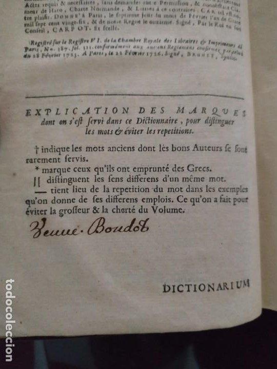 Diccionarios antiguos: 1732. Dictionarium Universale Latino Gallicum - Joannis Boudot. Firma del Autor. Muy raro - Foto 7 - 207578102