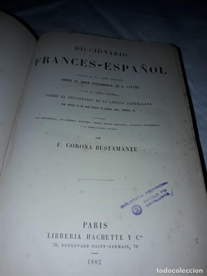 Diccionarios antiguos: F. Corona Bustamante - antiguo Diccionario Francés-Español año 1882 - Foto 2 - 207727272