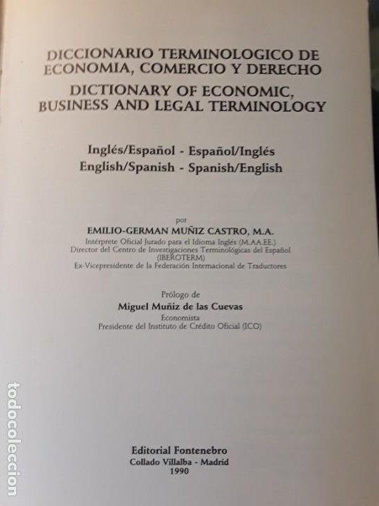 Diccionarios antiguos: Diccionario terminologico de economia, comercio y derecho, de Emilio Muñiz castro. Ingles-español/es - Foto 4 - 211398315