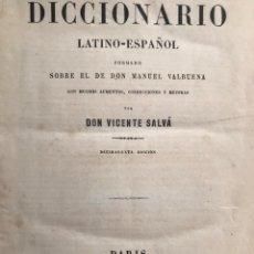 Diccionarios antiguos: DICCIONARIO LATINO-ESPAÑOL. 1878. CON PIEL Y FILIGRANAS.. Lote 211824325