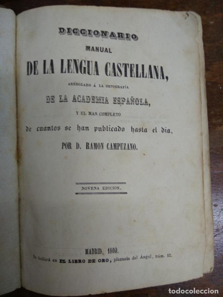 Diccionarios antiguos: Diccionario manual de la lengua castellana, D. Ramón Campuzano. 1860. L.14508-920 - Foto 2 - 214647206