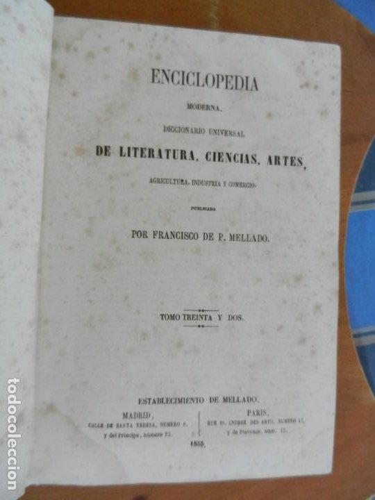 ENCICLOPEDIA MODERNA DE LITERATURA , CIENCIAS ARTES - TOMO 32- 1855 FRANCISCO DE P. MELLADO (Libros Antiguos, Raros y Curiosos - Diccionarios)