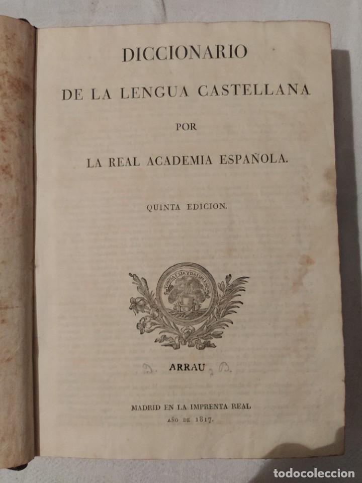 Diccionarios antiguos: Diccionario de la Lengua Castellana; 5ª edición - 1.817 - Foto 3 - 218998088