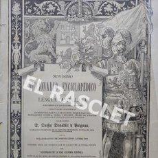Diccionarios antiguos: ANTIGUO CUADERNO Nº 41 DICCIONARIO ENCICLOPEDICO DE LA LENGUA CASTELLANA D. DELFIN DONADIU Y PUIGNAU. Lote 219607250