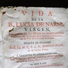 Livros antigos: BEATA LUCIA DE NARNI - AÑO 1744. Lote 220723361
