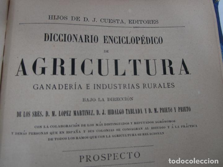 Diccionarios antiguos: Diccionario Enciclopédico de Agricultura - Ganadería e Industrias Rurales - Tomo I - 1885 - Foto 3 - 222685900