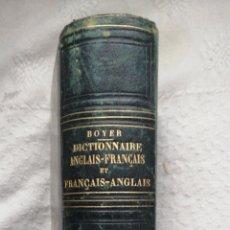 Diccionarios antiguos: NOUVEAU DICTIONNAIRE FRANÇAIS-ANGLAIS ET ANGLAIS-FRANÇAIS. BOYER PARIS 1854 BAUDRY IN 4º, HOLANDES. Lote 223837813