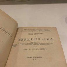 Diccionarios antiguos: NUEVO DICCIONARIO DE TERAPÉUTICA,GLONER ,1878, 1º TOMO , DE LA A A LA F. Lote 227630830