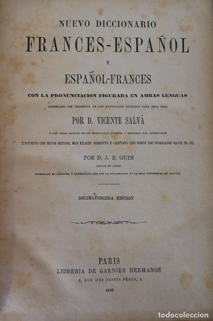 Diccionarios antiguos: NUEVO DICCIONARIO FRANCES-ESPAÑOL ESPAÑOL-FRANCES - VICENTE SALVÁ - GARNIER HERMANOS PARIS 1890 - Foto 2 - 229683435
