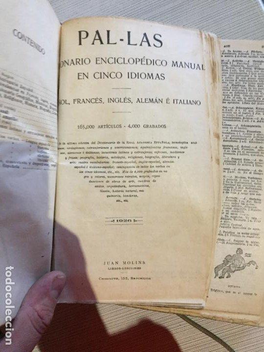 Diccionarios antiguos: Antiguo diccionario enciclopèdico manual de 5 idiomas Pal·las año 1926 - Foto 4 - 233450430