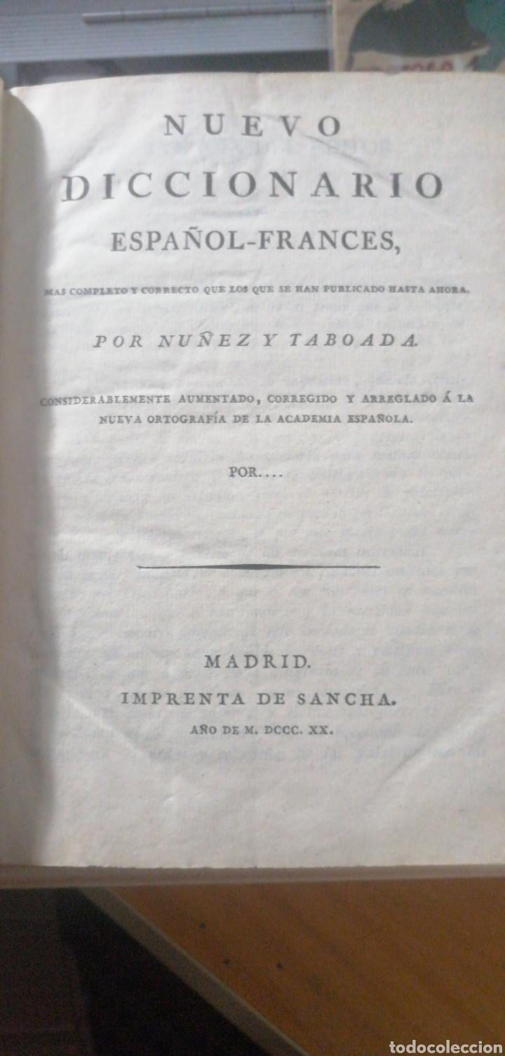 Diccionarios antiguos: Nuevo Diccionario Español-Francés.Núñez y Taboada. 1820. Imprenta de Sancha Pasta española - Foto 3 - 234514060