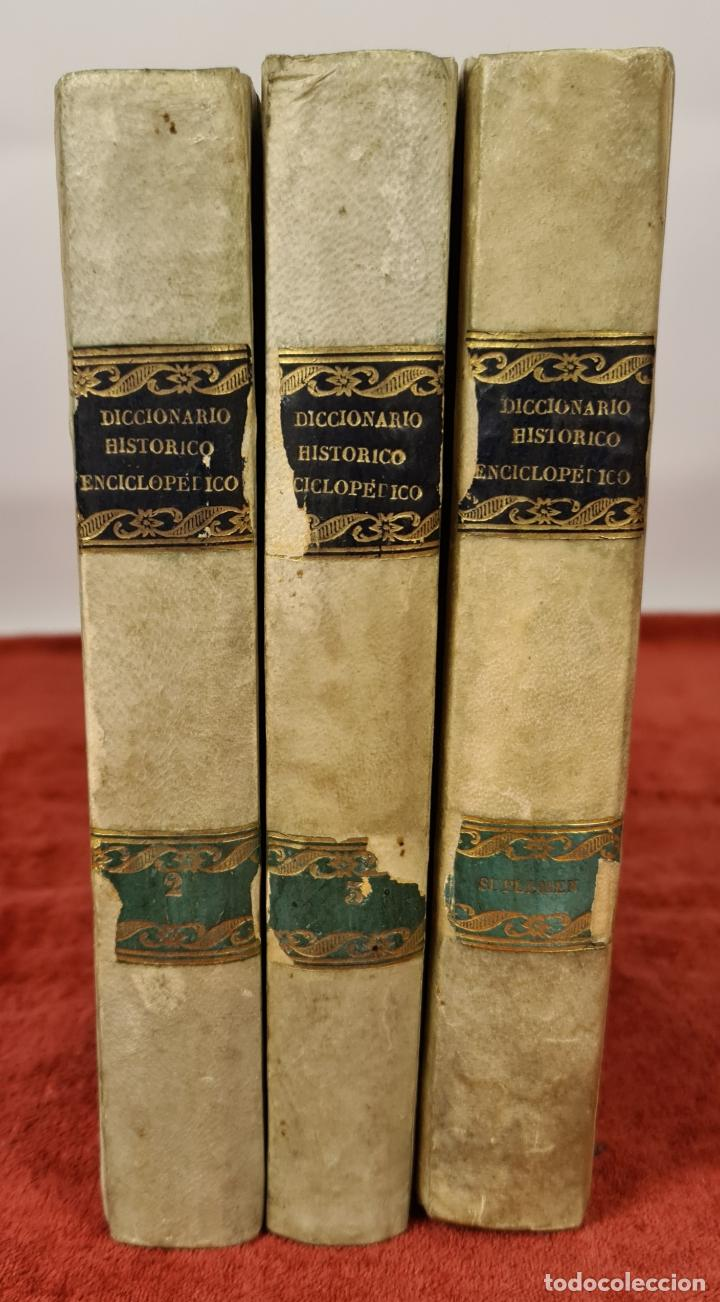 DICCIONARIO HISTORICO ENCICLOPÉDICO. JOAQUIN BASTÚS. IMP. A. ROCA. 3 TOMOS. 1829. (Libros Antiguos, Raros y Curiosos - Diccionarios)