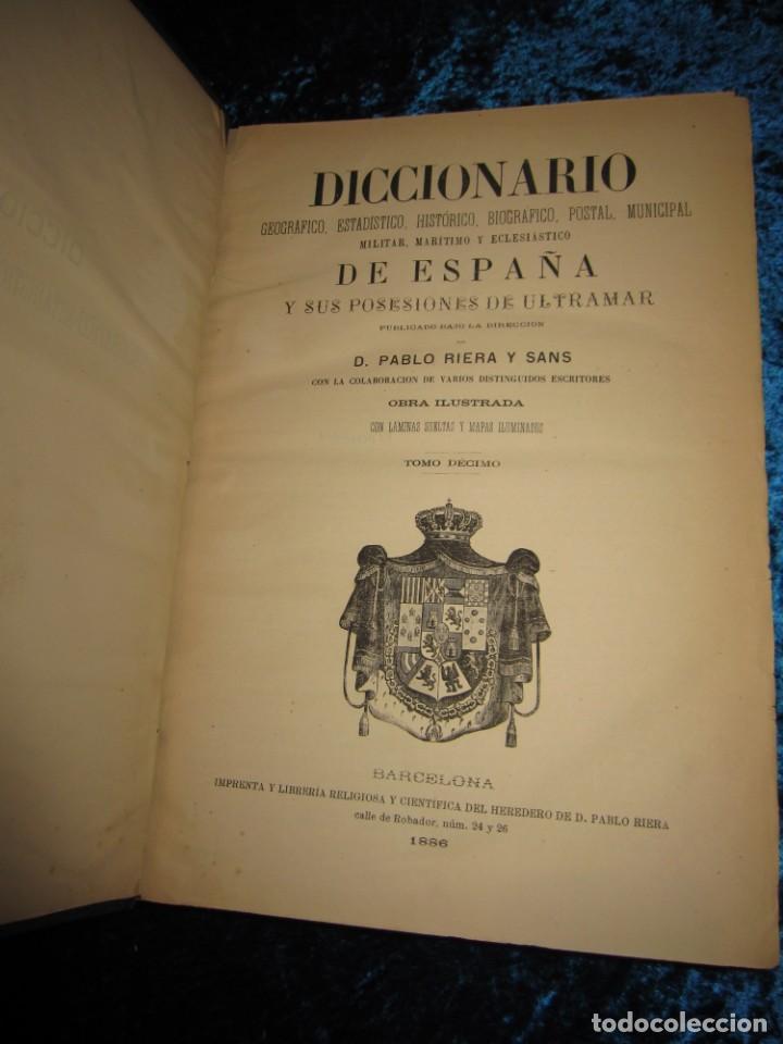Diccionarios antiguos: Diccionario geográfico España Ultramar X 1886 Riera mapa Soria, Tarragona, Teruel, Toledo, Valencia - Foto 13 - 207745366