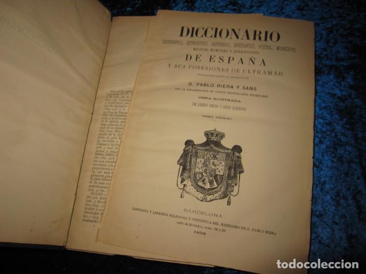 Diccionarios antiguos: Diccionario geográfico España Ultramar X 1886 Riera mapa Soria, Tarragona, Teruel, Toledo, Valencia - Foto 32 - 207745366