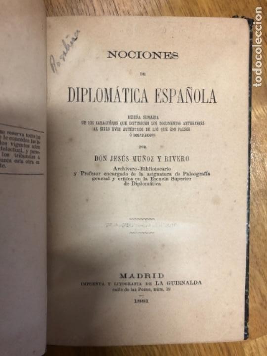 MUÑOZ Y RIVERO DIPLOMATICA ESPAÑOLA (Libros Antiguos, Raros y Curiosos - Diccionarios)