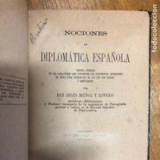 Diccionarios antiguos: MUÑOZ Y RIVERO DIPLOMATICA ESPAÑOLA. Lote 241291755
