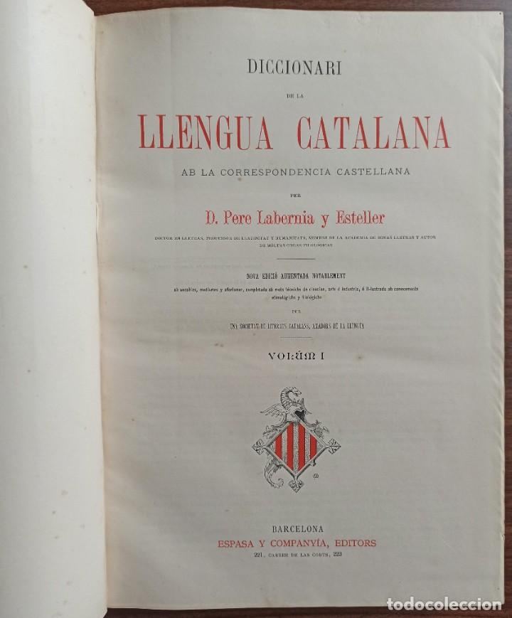 Diccionarios antiguos: DICCIONARI DE LA LENGUA CATALANA AB LA CORRESPONDENCIA CASTELLANA. D. PERE LABERNIA Y ESTELLER. - Foto 7 - 242884300