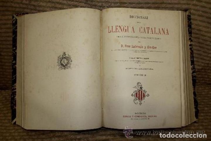 Diccionarios antiguos: DICCIONARI DE LA LLENGUA CATALANA. PERE LABERNIA. EDIT. ESPASA. SIN FECHA. 2 VOL. - Foto 3 - 245778715