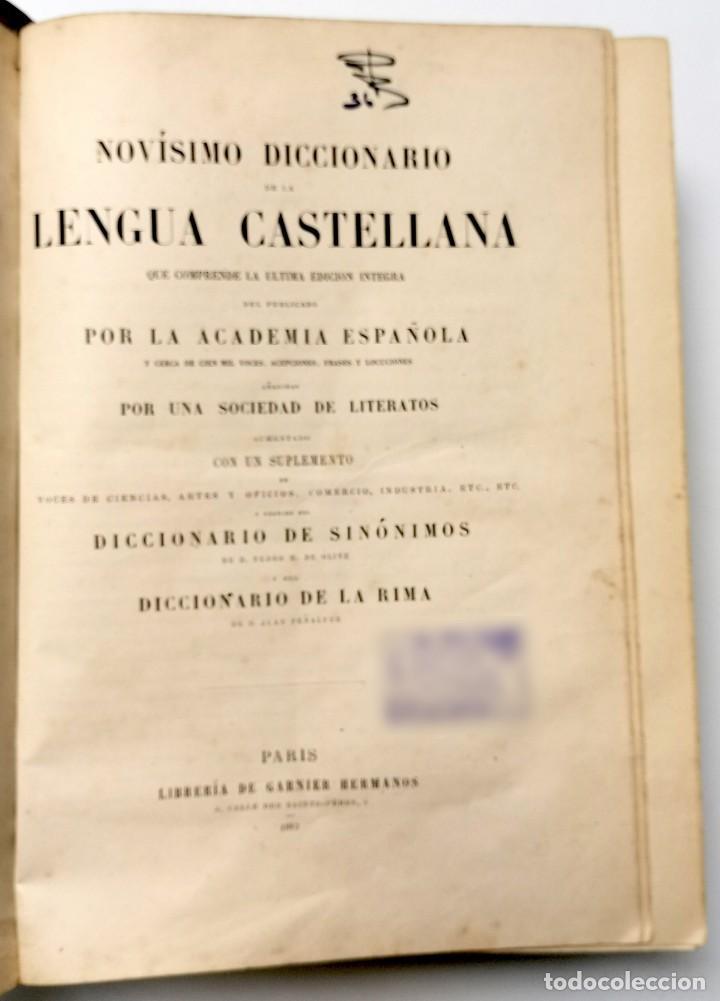 Diccionarios antiguos: NUMULITE E0040 Novísimo diccionario de la lengua castellana Sinónimos Rima Paris - Foto 2 - 248119775