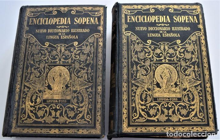 ENCICLOPEDIA SOPENA, NUEVO DICCIONARIO ILUSTRADO DE LA LENGUA ESPAÑOLA COMPLETA 2 TOMOS AÑO 1926 (Libros Antiguos, Raros y Curiosos - Diccionarios)
