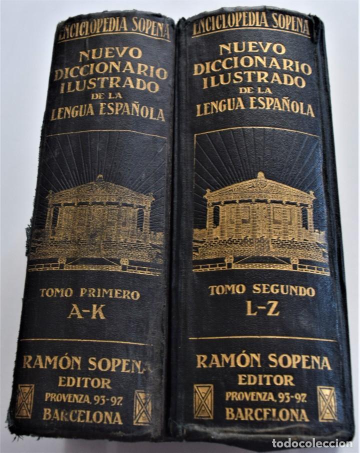 Diccionarios antiguos: ENCICLOPEDIA SOPENA, NUEVO DICCIONARIO ILUSTRADO DE LA LENGUA ESPAÑOLA COMPLETA 2 TOMOS AÑO 1926 - Foto 2 - 259920530