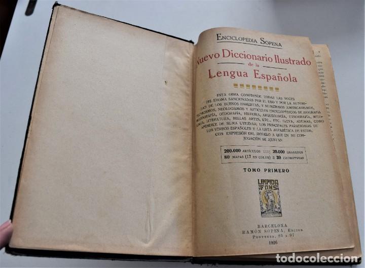 Diccionarios antiguos: ENCICLOPEDIA SOPENA, NUEVO DICCIONARIO ILUSTRADO DE LA LENGUA ESPAÑOLA COMPLETA 2 TOMOS AÑO 1926 - Foto 3 - 259920530