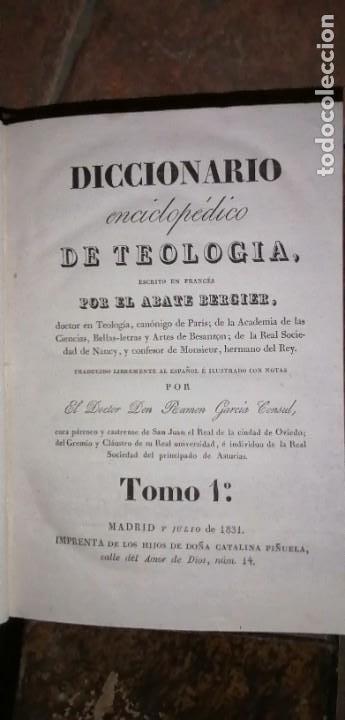 Diccionarios antiguos: LIBROS DICCIONARIO ENCICLOPÉDICO DE TEOLOGIA. BERGIER. 1831-1835 - Foto 25 - 267705234