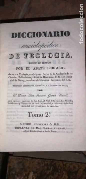 Diccionarios antiguos: LIBROS DICCIONARIO ENCICLOPÉDICO DE TEOLOGIA. BERGIER. 1831-1835 - Foto 30 - 267705234