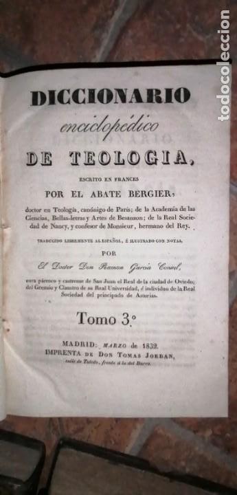 Diccionarios antiguos: LIBROS DICCIONARIO ENCICLOPÉDICO DE TEOLOGIA. BERGIER. 1831-1835 - Foto 31 - 267705234