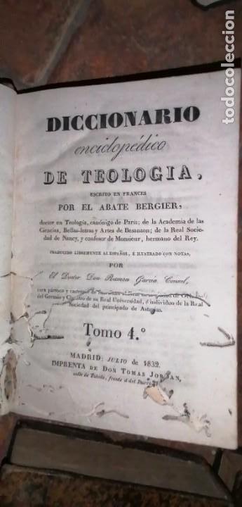 Diccionarios antiguos: LIBROS DICCIONARIO ENCICLOPÉDICO DE TEOLOGIA. BERGIER. 1831-1835 - Foto 33 - 267705234